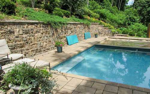 Pool Deck, Retaining Wall, Natural Stone, Stamped Concrete, Authentic Homescapes